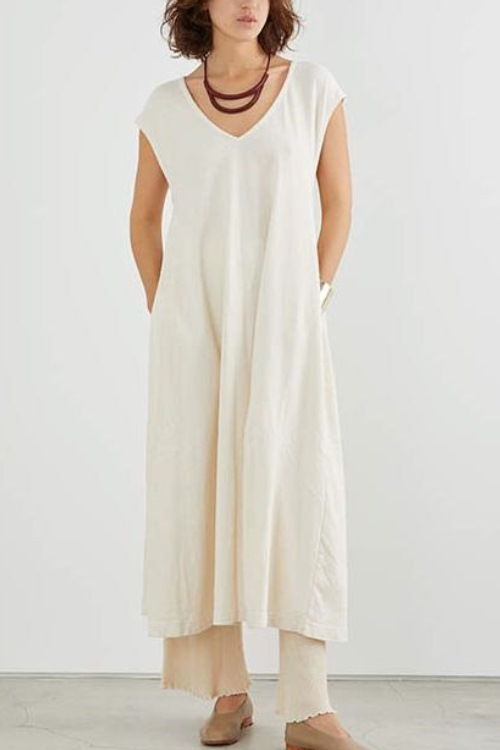 Back ribbon Dress / Off white