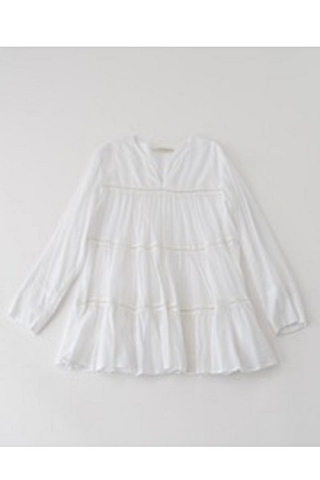 COTTON VOIL TIERED TOP / WHITE