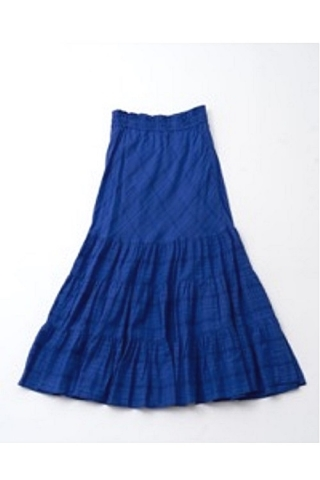 DOBBY CHECK TIERED SKIRT / BLUE