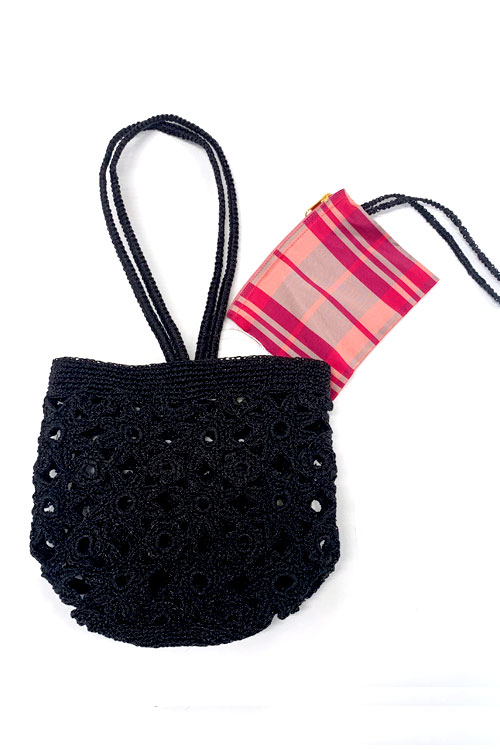 METALLIC FLOWER BAG / BLACK