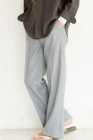 WOOL WIDE STRAIGHT PANTS / GRAY