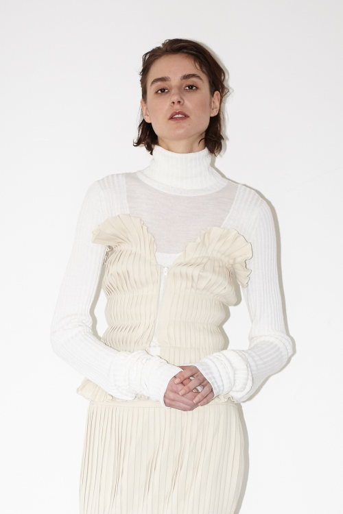 Ribbed cuff knit / WHITE