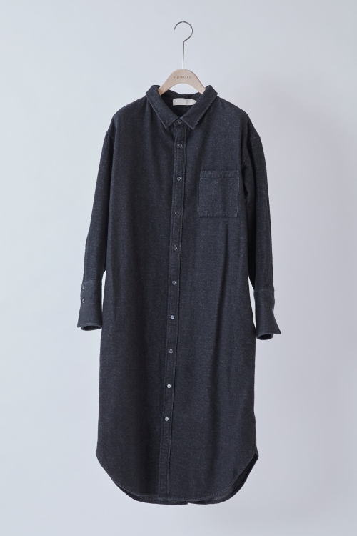 Cottonflannel Shirts Dress / CHARCOAL GRAY