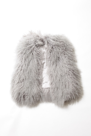 FUR VEST / DUSTY GRAY