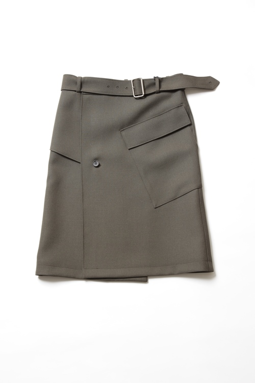 MOTOR CYCLE SKIRT / OLIVE BROWN