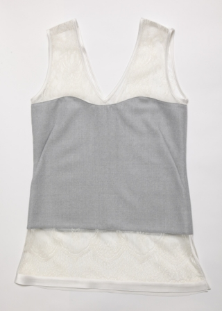 Lace and wool gergette top/Grey