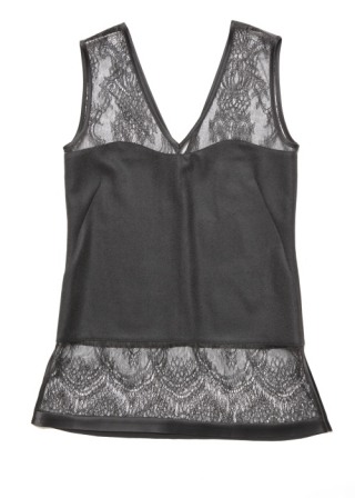Lace and wool gergette top/BLACK