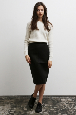Leather Long Skirt / Black