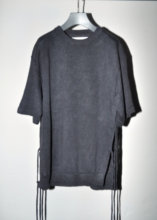 KNIT SIDE STRAP T SHIRT /CHARCOAL