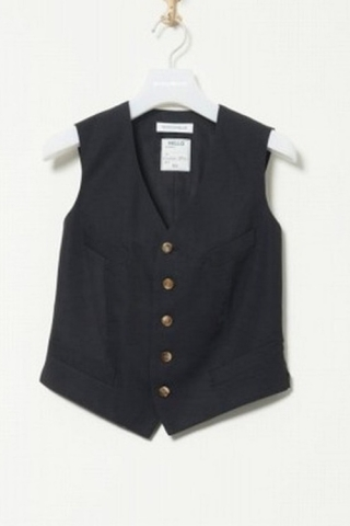 DRESS VEST LINEN CANVAS/BLACK
