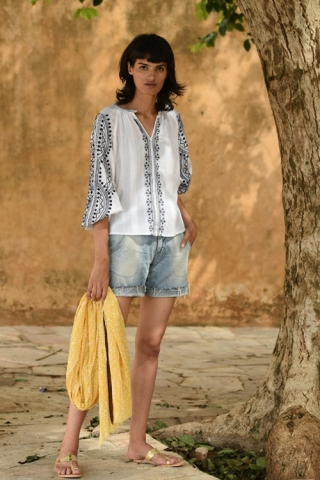 Cotton rayon crape embroidery top